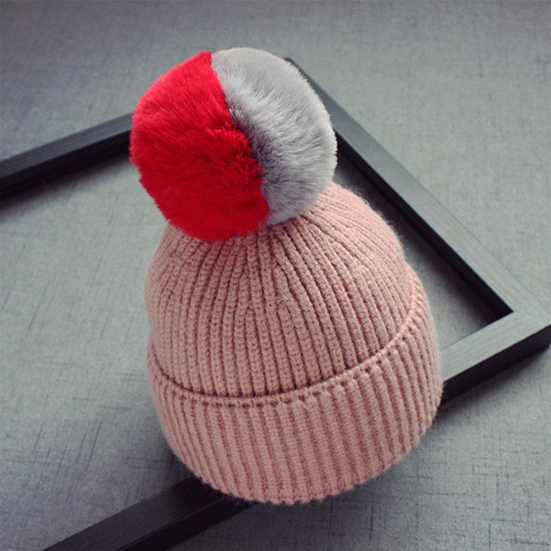 2018 Winter Baby Hats Children Fur Pom Pom Hats Girls Boys Kids Thicken Skullies Beanies Warm Knitted Wool Crochet Hat Newborn