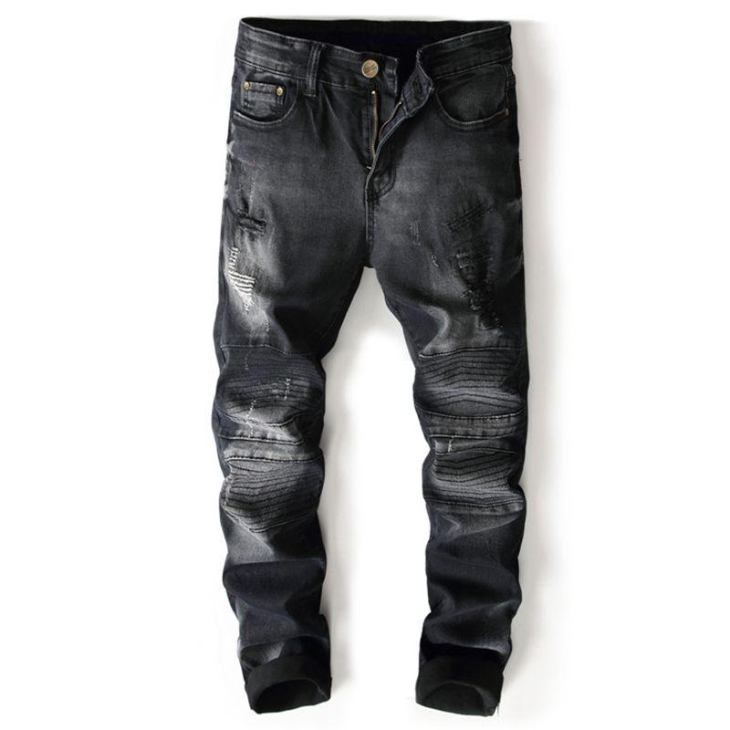 7b301c0308 2019 2018 Spring Summer New Dark Wash Hole Fake Zipper Patchwork Jeans Men  Slim Fit Vintage Basic Blue High Quality Brand Clothing From Manxinxin