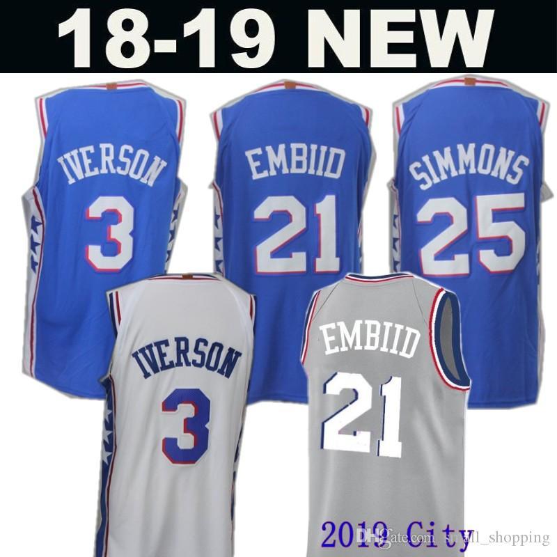 418a65d0b7f6 2019 City 76ers 21 Joel Embiid 25 Ben Simmons New Philadelphia ...
