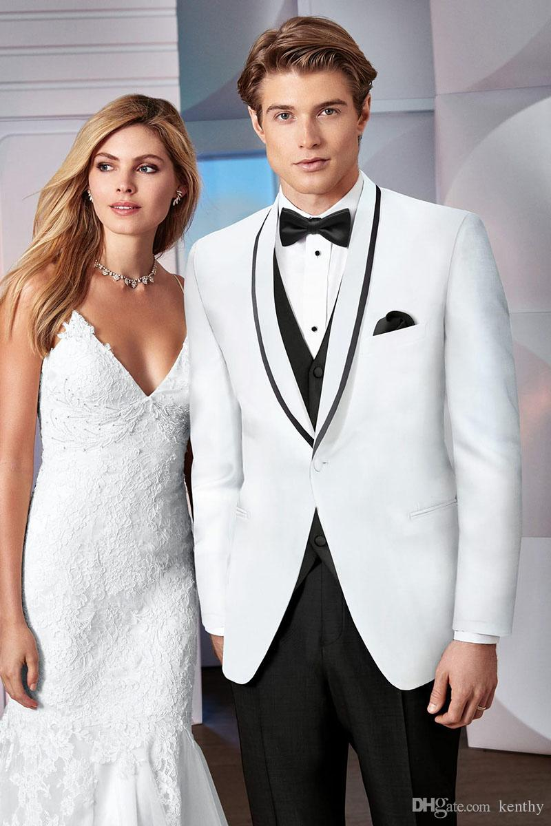 Men Suits Wedding Suits For Man White Black Shawl Lapel Custom Made Summer Bridegroom 3Pieces Slim Fit Formal Blazer Prom Tuxedos Best Man