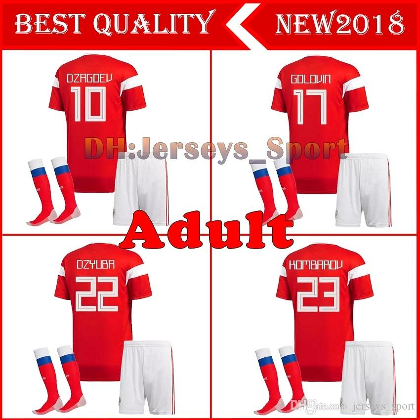 12f376d7975 2018 world cup Russia Soccer Jersey full kit with socks men's Home red  Football suit Thai Quality Kokorin Dzyuba adult Soccer set uniforms
