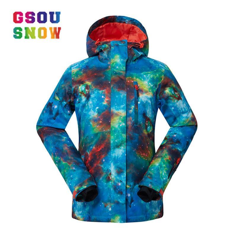 design di qualità 874e5 e1e72 GSOU SNOW Giacca da sci per donna Giacca da neve traspirante per ragazze  Giacca da sci e snow da snowboard ad alta Q. Antivento femminile