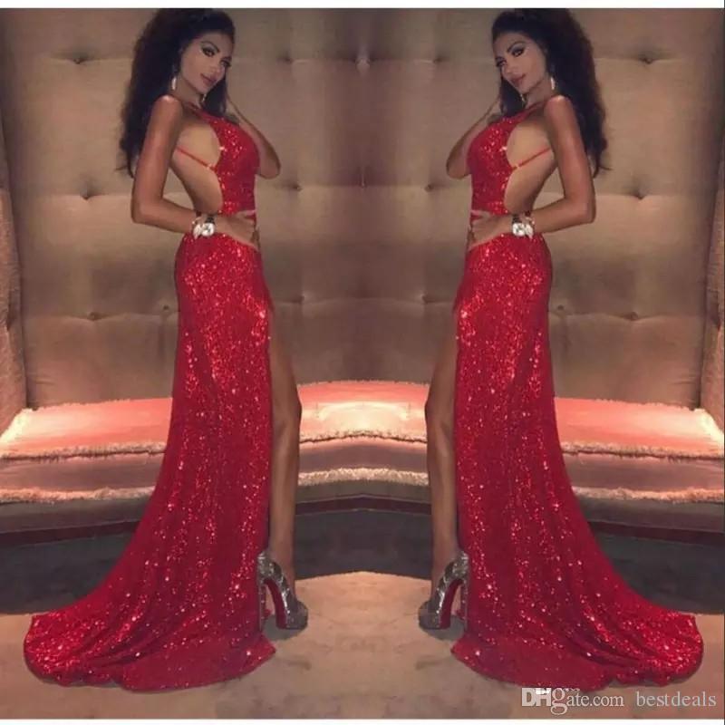 Sexy lentejuelas rojas Vestidos de baile largos 2018 Sirena Muslo Cortes de espagueti sin respaldo Niña negra africana Celebrity Vestidos de noche