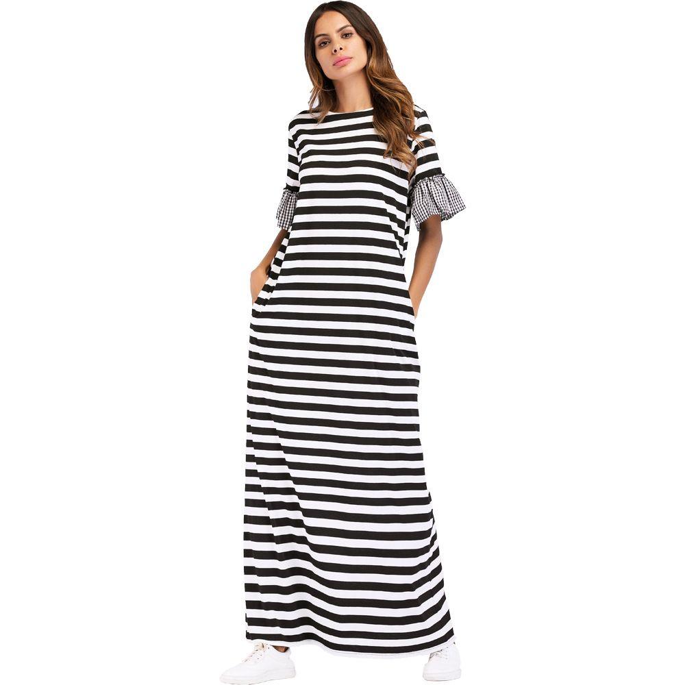 012e234329 Compre 7037 Faldas Largas Europeas Y Americanas Oriente Medio Muselina Raya  De Punto Vestidos De Cuadros Batas Vestidos De Mujer Túnicas Musulmanas  Abaya ...