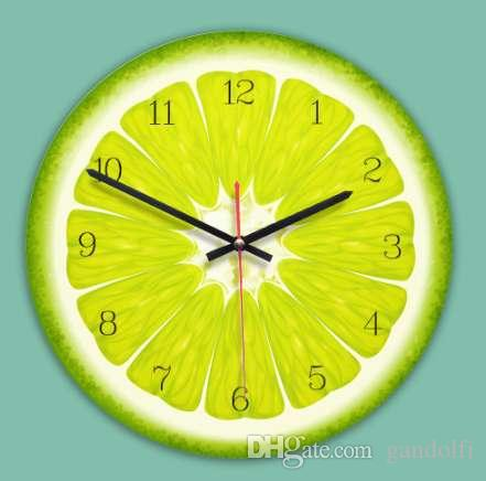 Creative Wall Clock 11 Inch Cartoon Fruits Clock Kids Room Wall Decoration  Colorful Wall Watch Silent Movement Unique Gift Glass Wall Clocks Glass  Wall ...