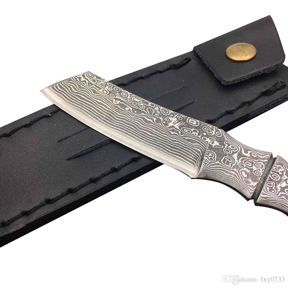 Swayboo Bamboo Shape Damascus Steel Outdoor Camping Knife Portable Survival Hunting Knives With Leather Sheath Fixed Blade