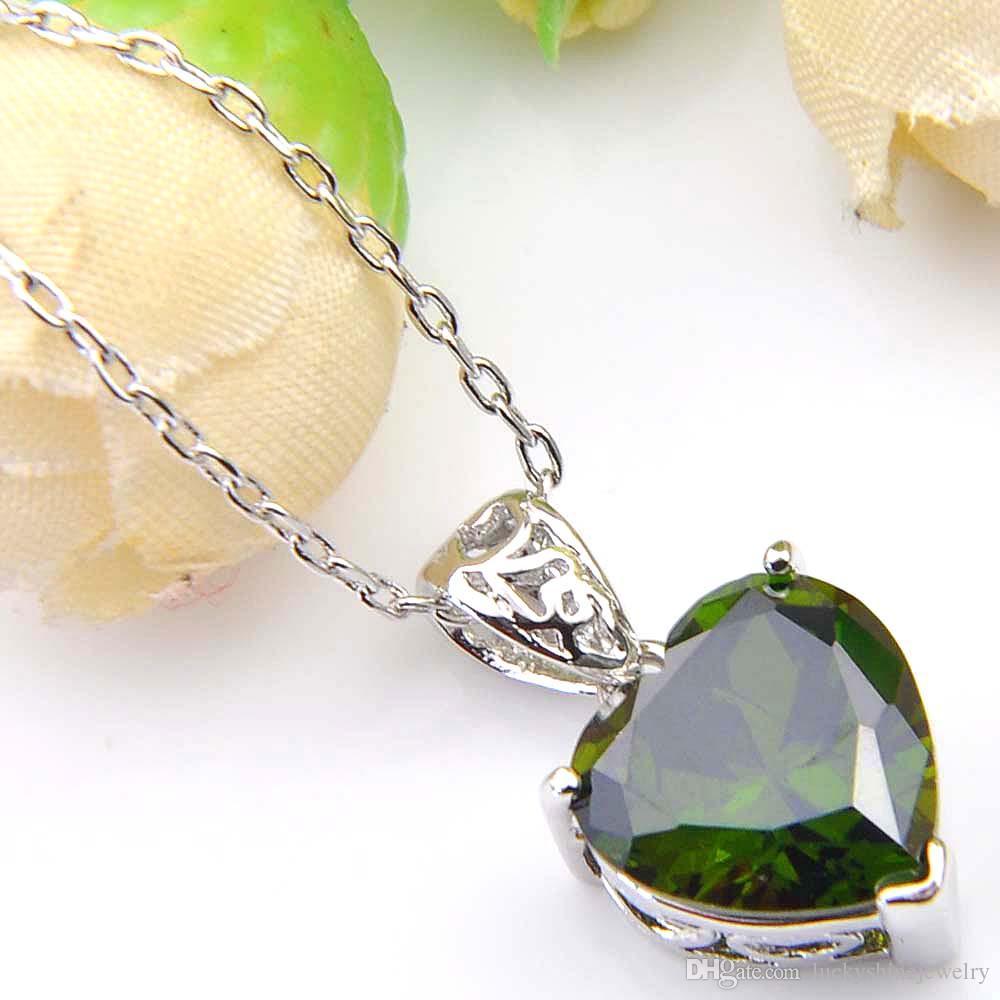 Luckyshine Excellente Brillance Coeur Feu Suisse Olive Péridot Cubique Zircone Gemstone Argent Pendentifs Colliers pour les Vacances Weddin