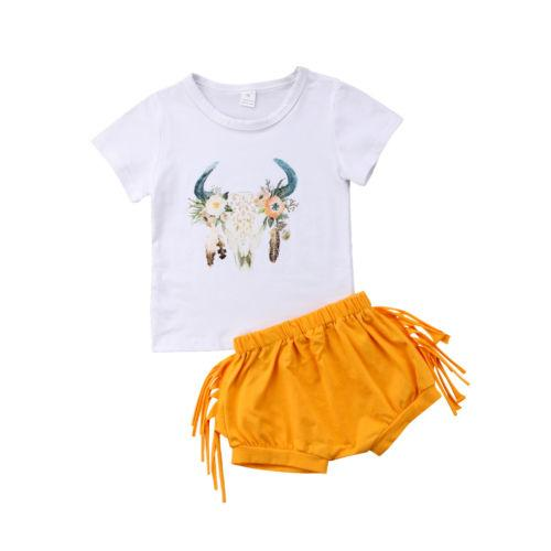 2018 Fashion Toddler Newborn Infant Baby Girl Clothes Print Cotton Bodysuit Outfit Cotton Top Shorts Pant Clothing 2PCS