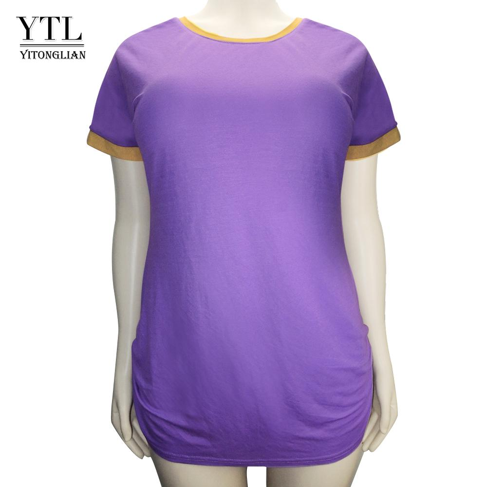 YTL Women Oversized T Shirt Female Plus Size Tops Pullover Solid Cotton  Short Sleeve Loose Casual Long Tshirt Tee Shirts H101 T Shirt Best  Discounted T ... 3f37fd6d56