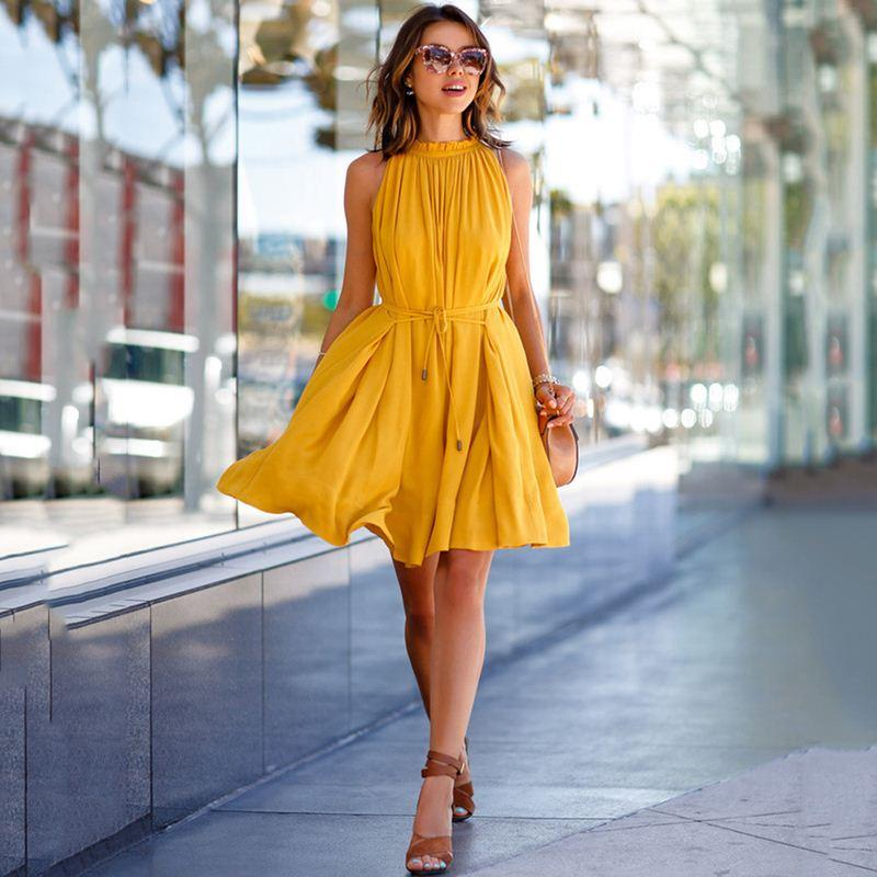 acheter robe d'été femme 2018 jaune bref sans manches À lacets
