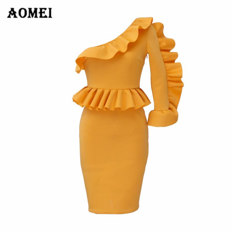 39973ce19db8d 2019 Women Bodycon Yellow Dress Ruffled Pleated Lady Fashion Tight Dresses  One Shoulder Robes Spring Summer New Sexy Party Club Wear From Longmian, ...