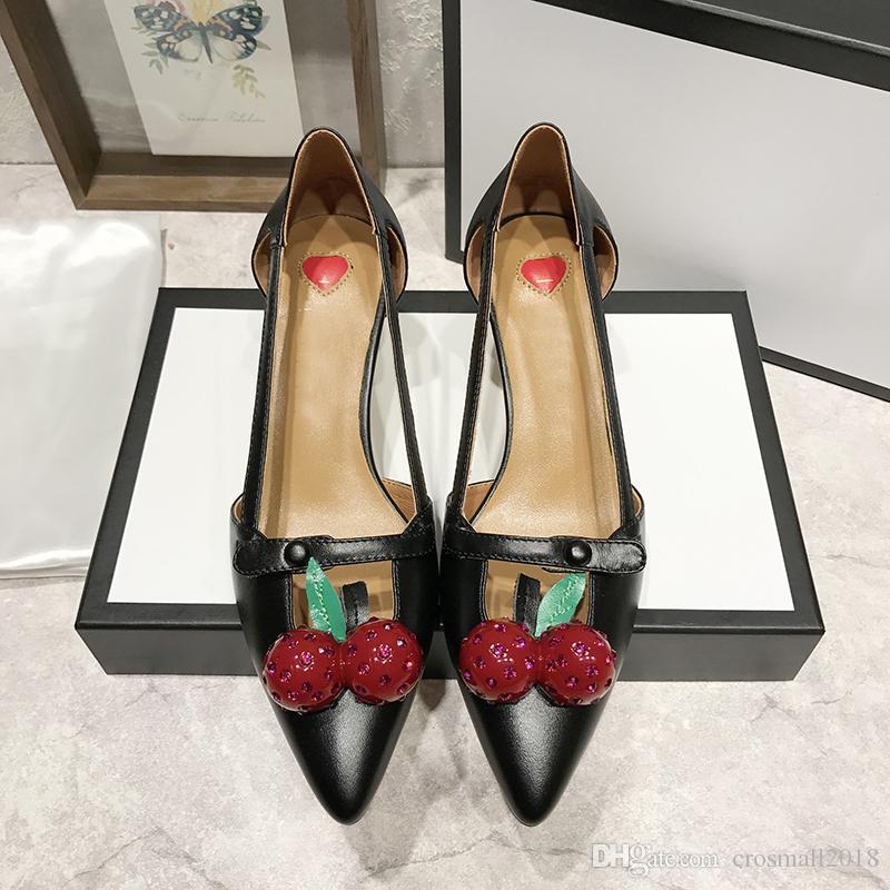 Заостренные пальцы на высоком каблуке сандалии Женские летние насосы твердые печатных вишня пряжки один обуви скольжения на мокасины шпильках натуральная кожа обувь