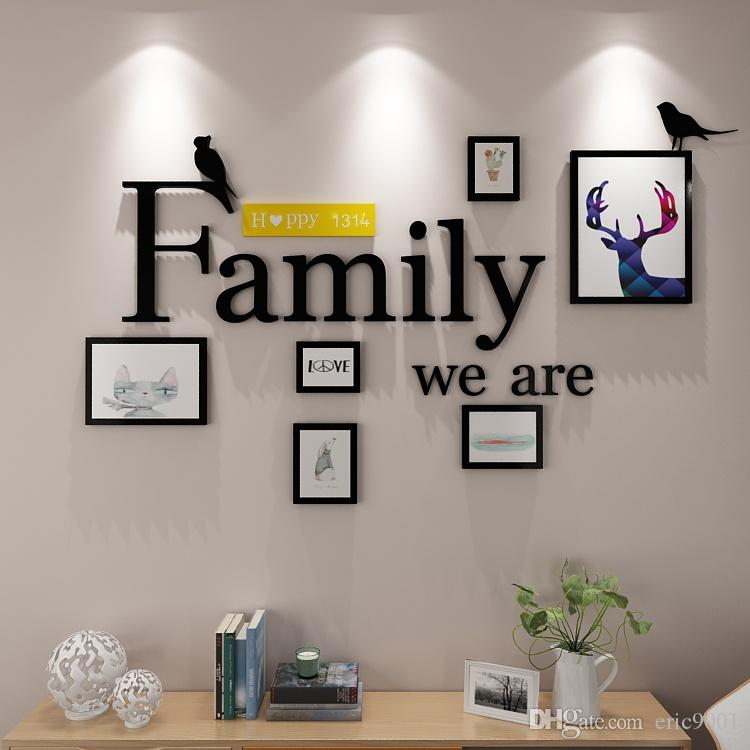 2018 Wooden Photo Frames Wall Combination Diy Wall Paper Photo Frame ...