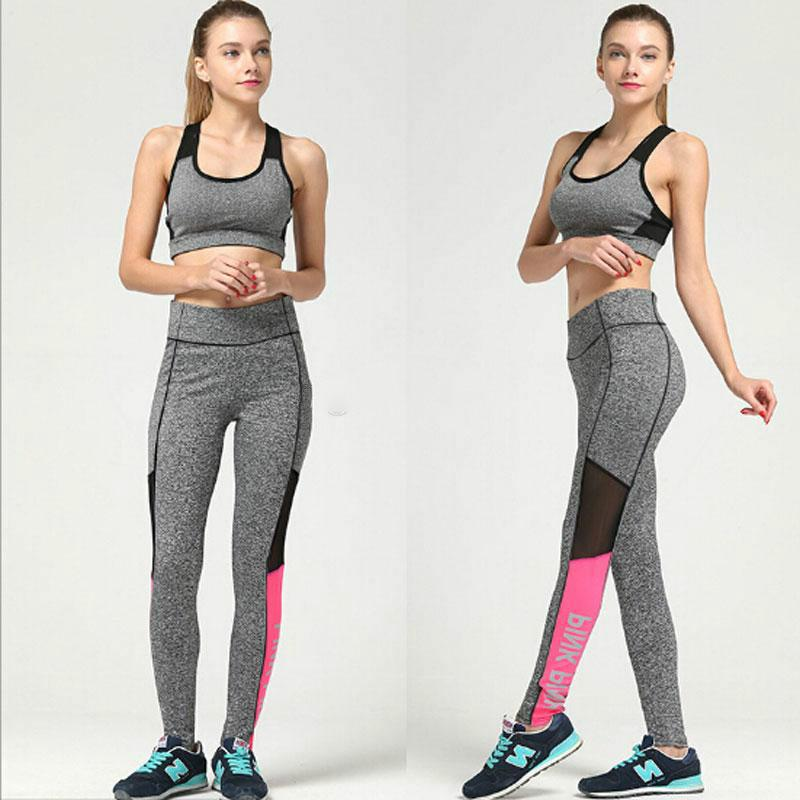 e8010e26c8269 PINK Letter Gym Pants Women's Workout Leggings Sportswear High Waist Yoga  Sport Pants S-3XL Gray for Girls Lady