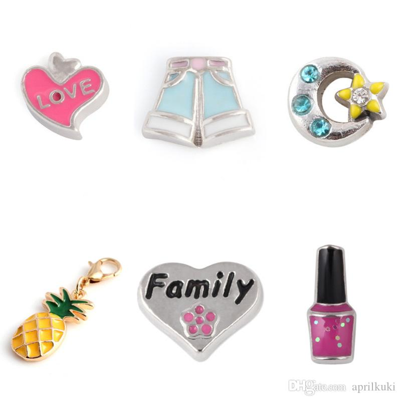 6 Style Family Pants Nail Polish Pineapple Love Moon Star Floating Charms Fit Fot Magnetic Living Memory Glass Floating Locket