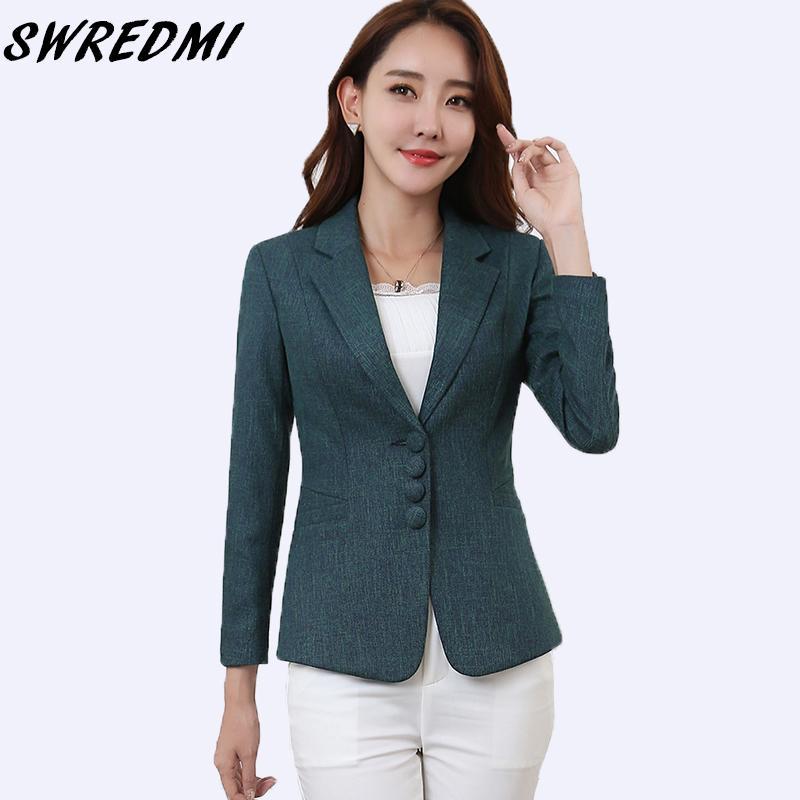 Compre SWREDMI Plus Size 5XL Elegante Chaqueta De Dama De Negocios Nuevo  2018 Mujeres Office Lady Work Blazer Mujer Casual Traje Abrigo Primavera  Otoño ... 407b40af06b
