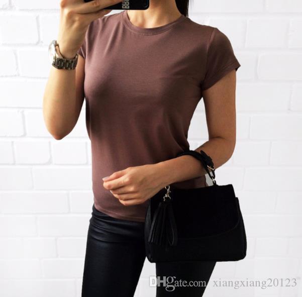 Großhandel Wunsch Explosion Modelle Europäischen Und Amerikanischen Mode  Frauen, Einfarbig T Shirt Frauen Kurzarm Frühling Und Sommer, Ebay Heiße  Neue 2018 ... 2c9276aef0