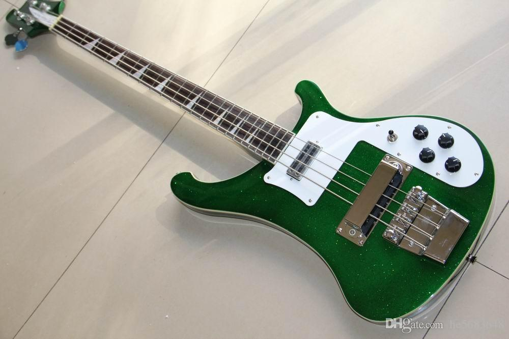 شحن مجاني! بالجملة جديد ريك. 4 string 4003 bass bass guitar in flash silver matel Silver 120930