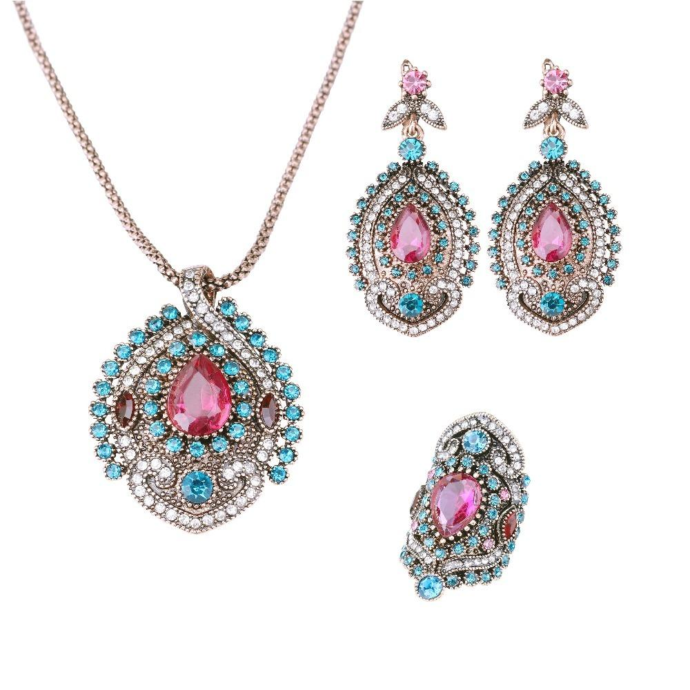 YIMLOI 3Pcs Vintage Jewelry Sets For Women Antique Gold Pink Crystal  Wedding Party Earrings Necklace Ring Female Turkish Jewelry