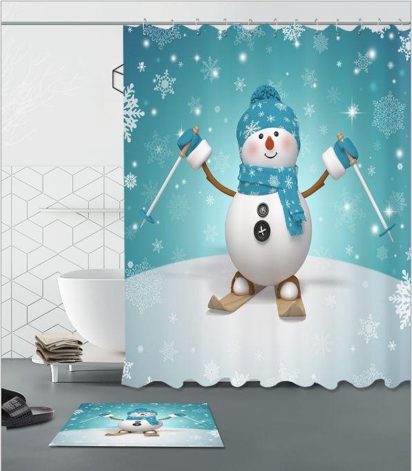 2019 Snowman Skiing Pattern 3D Print Custom Waterproof Bathroom Modern Shower Curtain Polyester Fabric Door Mat Sets From Paintingart2017