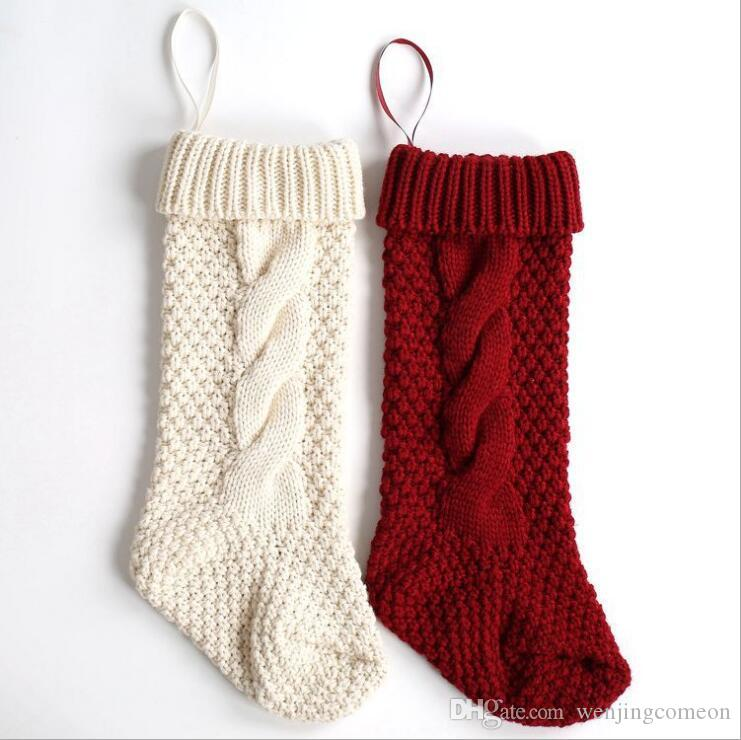 Woolen Yarn Knit Stockings Sack Gift Filler Festival Christmas Xmas ...
