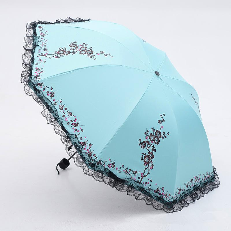 6 Colors Plum Flower Blossom Parasol lace three folding umbrella UV brand Sunny / Rain parasol lace sun umbrella rain women