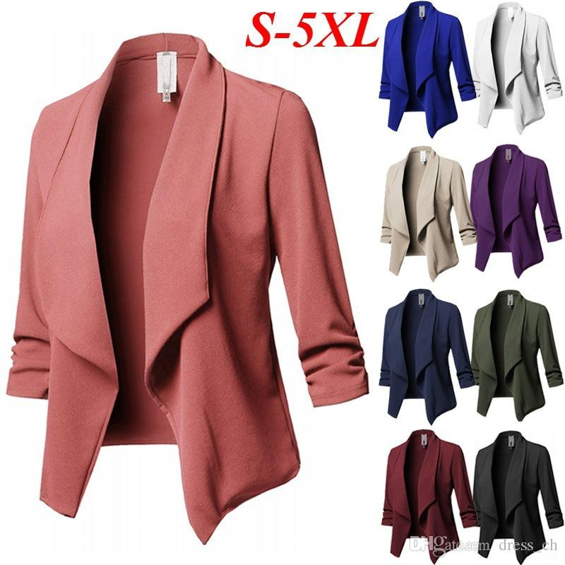 S-5XL Womens Long Sleeve Business OL Outwear No-Buckle Blazer Jacket Suits Plus Sized Coat Tops