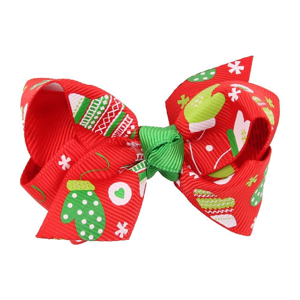 Europe Bow Christmas Baby Girl Hairpin Print Fashion Children Hair Accessories For Kids Turban Hair Clips Gift HC044
