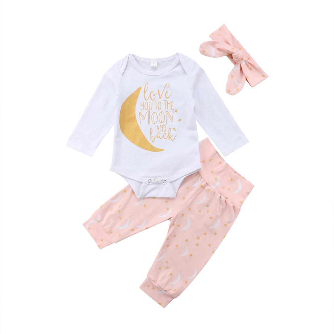 b785f897a0a40 2019 Newborn Infant Baby Girls Boys Pretty Lovely Clothes Long Sleeve  Letter Print White Romper Tops+Moon Print Pants+Headband From Universecp