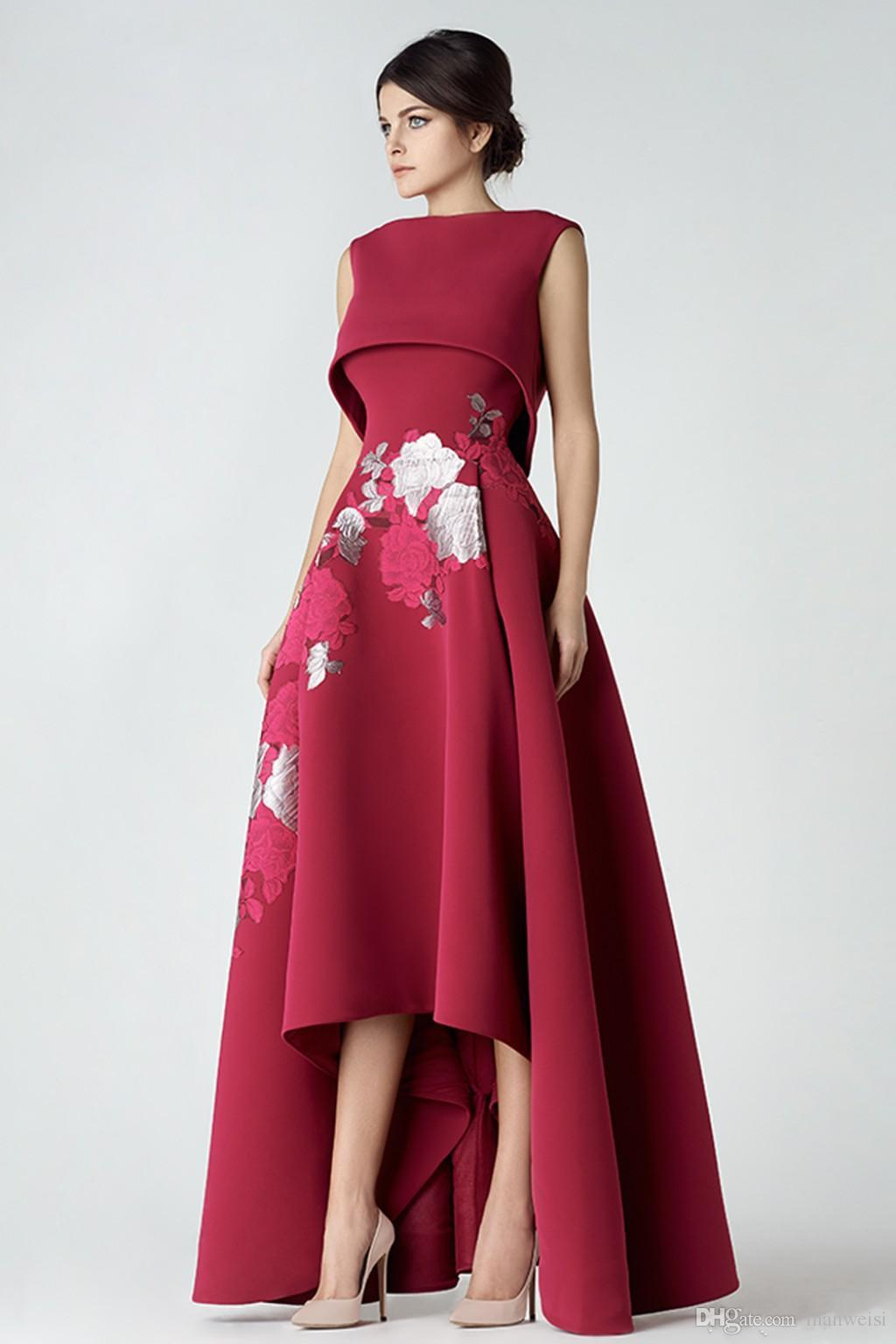 2018 New Red High Low Prom Dresses Saiid Kobeisy Jewel Neckline A Line Party Gowns Cheap Appliqued Evening Wear For Women