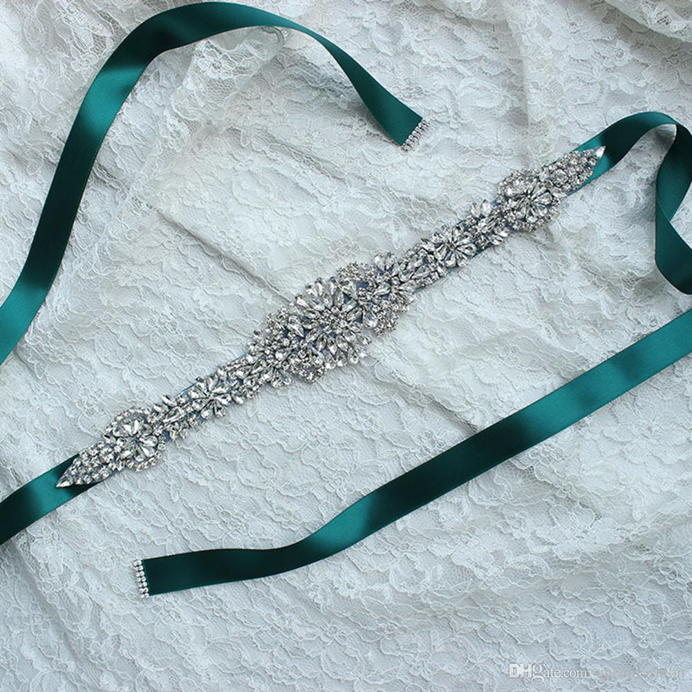 Sparkly Rhinestone Beaded Bridal Wedding Sashes White Ivory Champagne Bling Long Black Green Pink Silver Crystal Belt for Evening Prom Dress