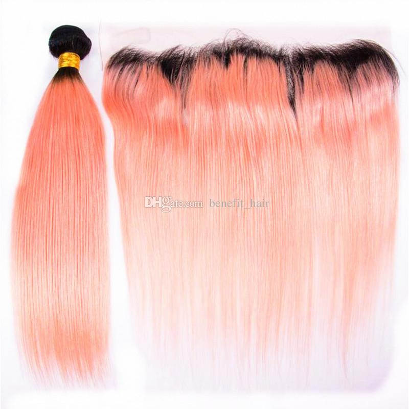 Ombre Color 1B Orange Hair Weaves With Lace Frontal 13x4 Ear To Ear Frontal With Orange Human Hair Extensions