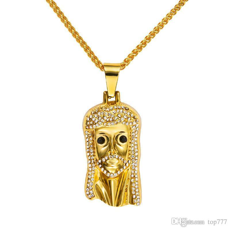 a jesus n face out goldtone iced products piece inch with rope micro grande necklace pendant