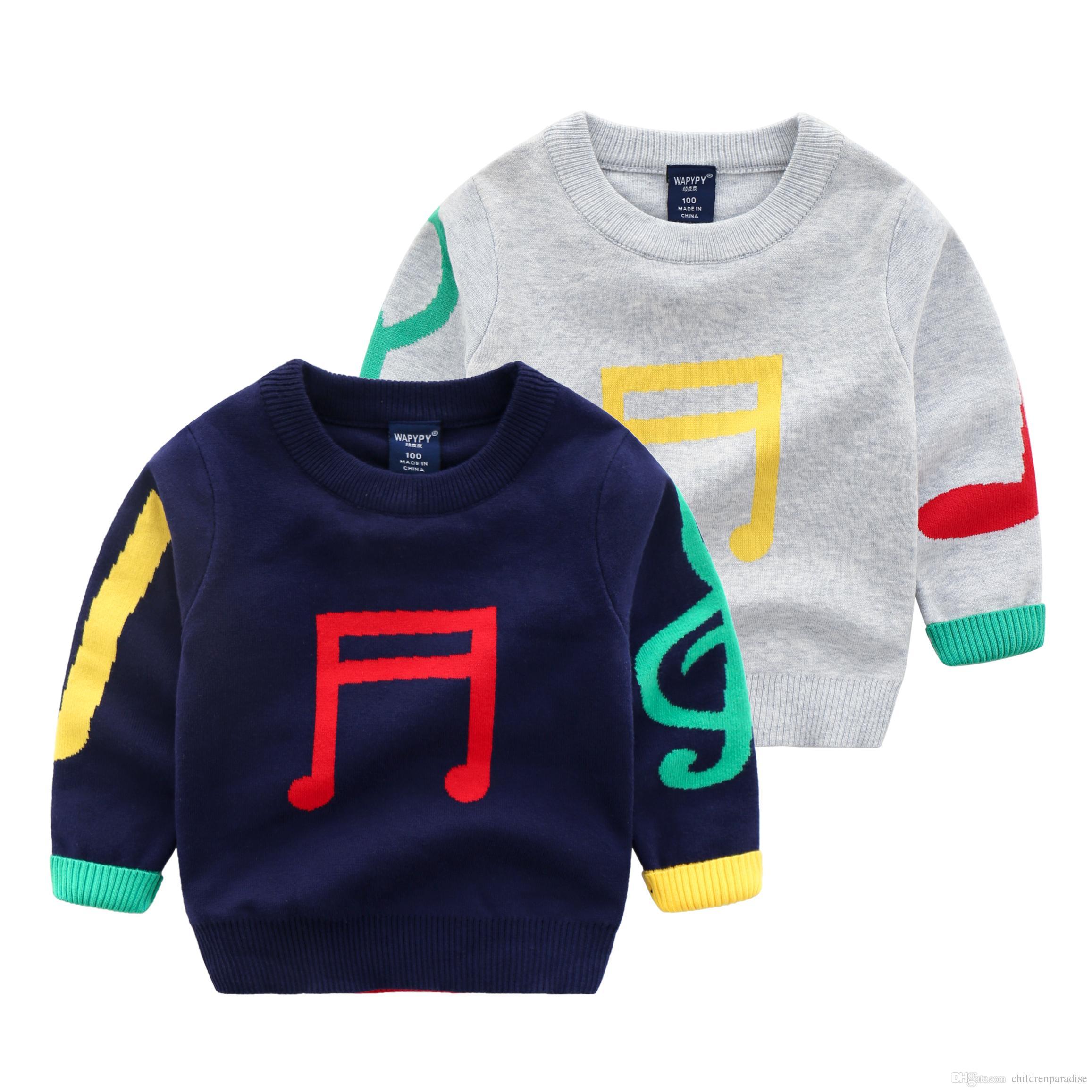28cdd51a6f2a Acquista 2018 Autunno Inverno O Collo Cotone Ragazzi Maglione Abbigliamento  Bambini Pullover Casual Baby Maglione Stampa Baby Maglione 24M Baby Tops A  ...