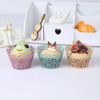 Biscotti feste di nozze Cottura di tazze cupcake Moda Farfalle di filigrana Scatole laser in filigrana Tazza di torta di carta al cioccolato