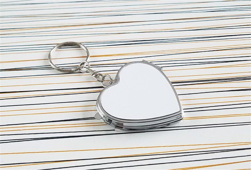 sublimación en blanco llaveros de metal para mujeres hombres moda maquillaje espejos llaveros para materiales de transferencia de calor nuevo estilo ventas al por mayor