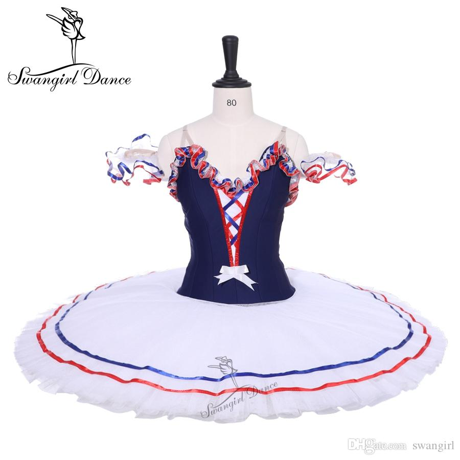 Adult Navy Blue White Women Pancake Platter Ballet Tutu Dress Ballet Stage Costume Flames Bird Professional Ballet Tutus Girls BT9213