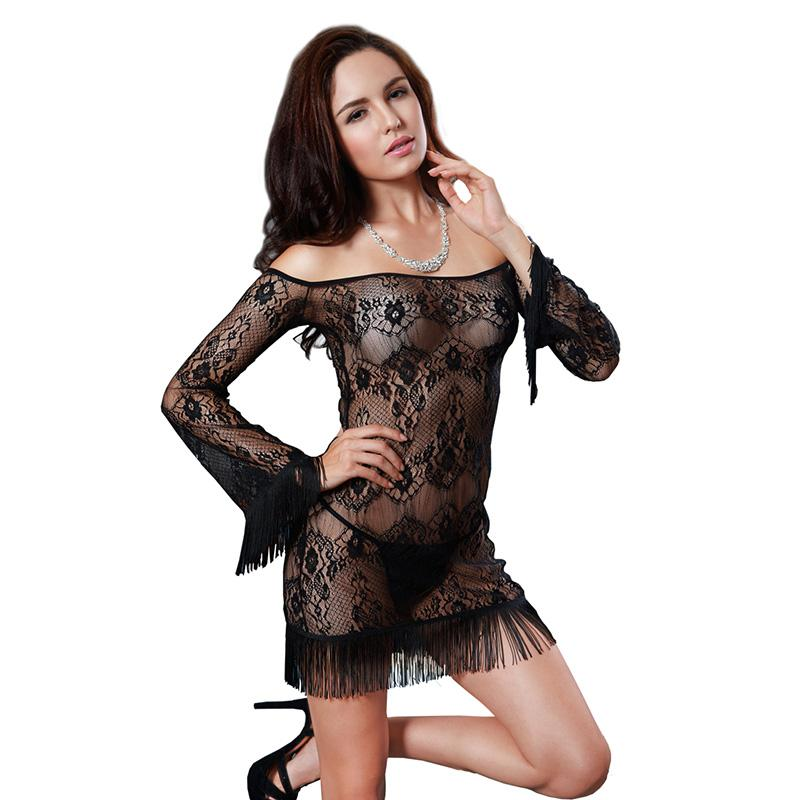 9b1274949 2019 Sexy Lingerie Lace Mesh Underwear One Shoulder Long Sleeved Charming  Slimming Nightdress Fringed Short Transparent Skirt Baby Doll From  Daylight