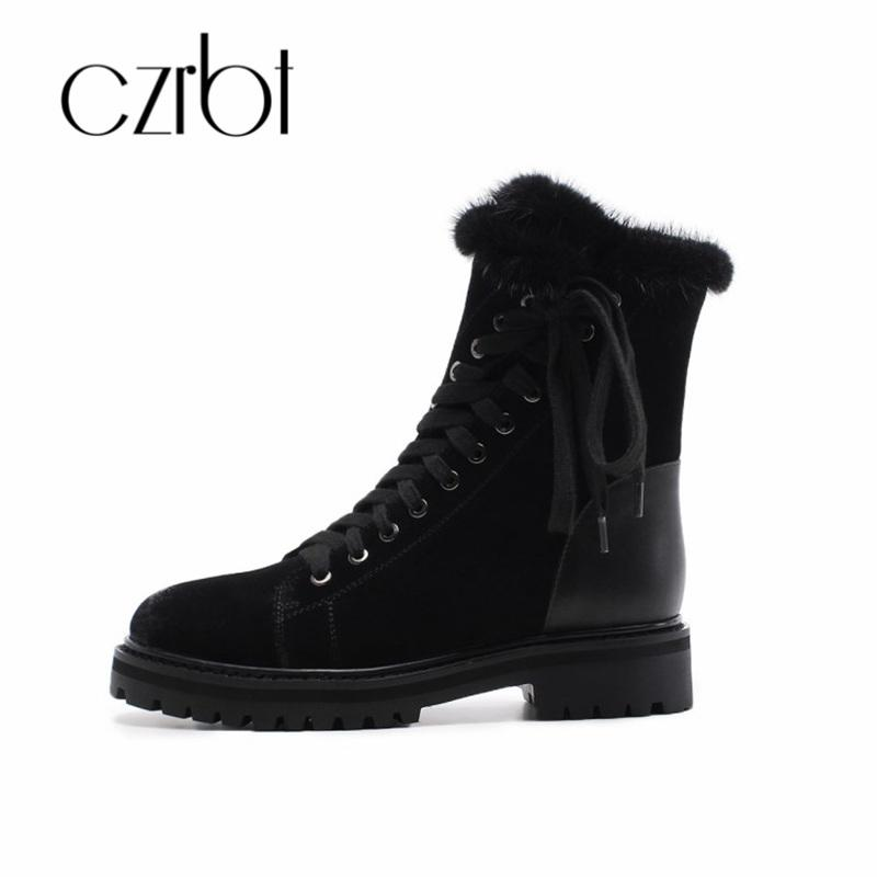c14ae1e8a436a Czrbt New 2018 Winter Boots Women Genuine Leather Warm Lace Up Buckle Style  Mid Calf Casual Female Boots Fashion Non Slip Ariat Boots Work Boots From  ...