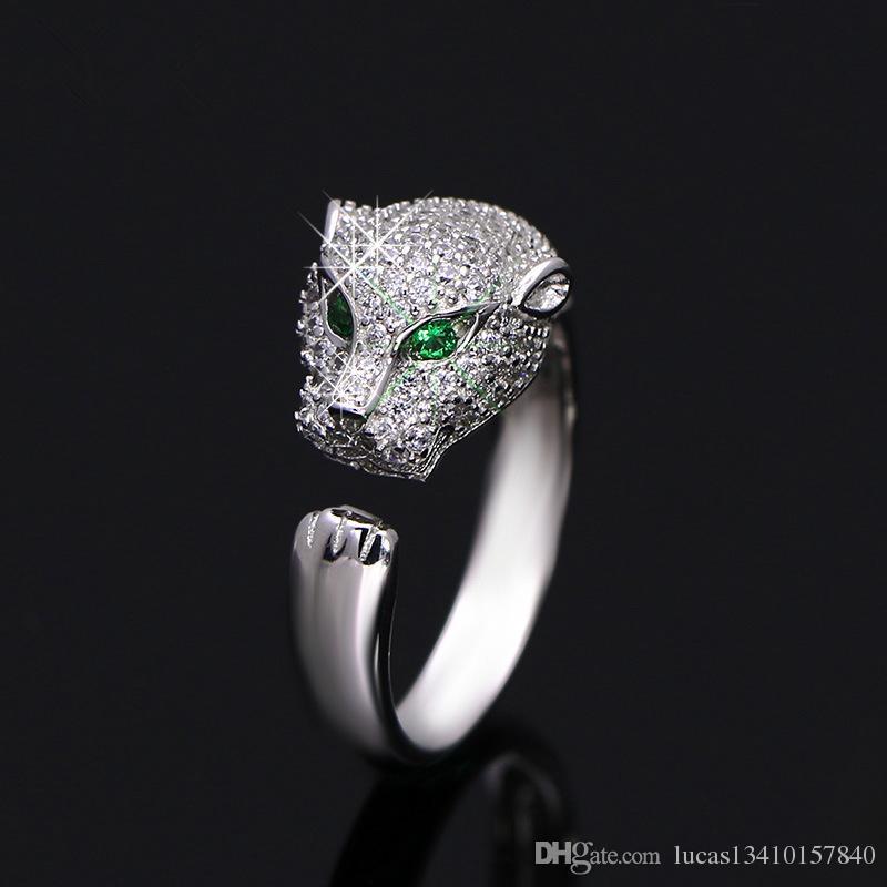 009bebcebcd2 Купить Оптом Vecalon Fashion Ring Leopard Design Party Ring CZ Diamond 925  Sterling Silver Женское Участие Finger Ring Inlay Eye Leopard 2018 Hot Sell  ...