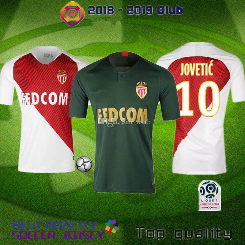 39c27a234c Compre 2018 2019 Monaco Camisas De Futebol FALCAO Maillot Casa Vermelho E  Branco Afastado Verde Uniforme De Futebol CARRILIO GLIK JEMERSON Camisas De  ...