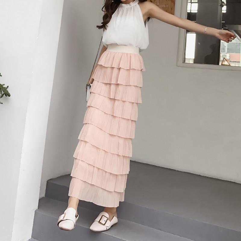 3160737b2b7f9 Femmes De Mode En Mousseline De Soie Été Taille Haute Élastique  Multi-couleur Couche Plissée Longue Plissée Jupes En Cascade