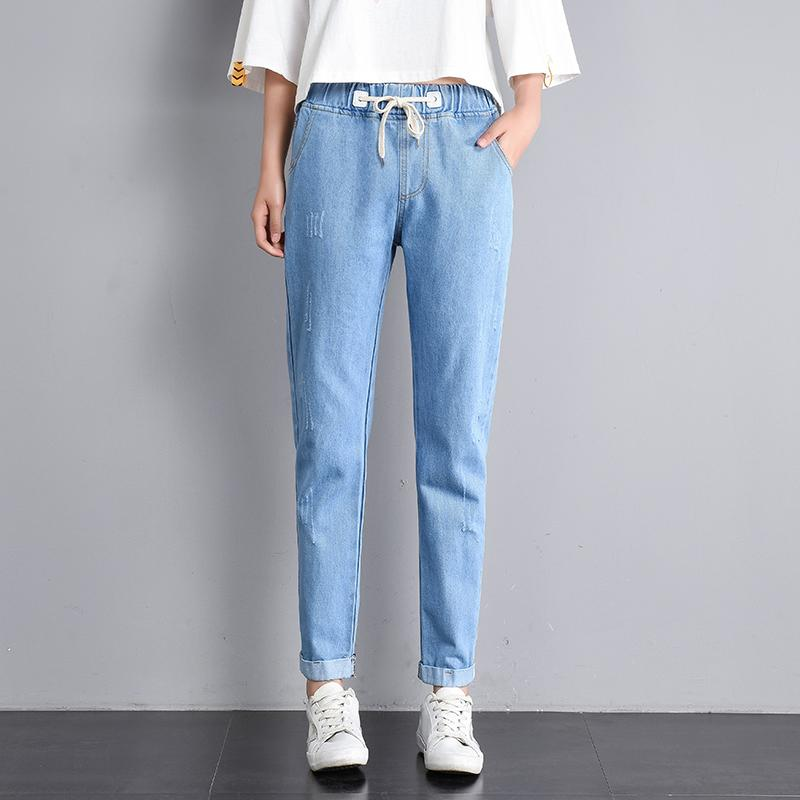 2e4099dcf51d 2018 Jujuland 2018 Women Summer Pants Casual Trousers For Ladies Blue  Ripped Mid Waist Drawstring Skinny Denim Calf Length Jeans From Piaocloth,  ...