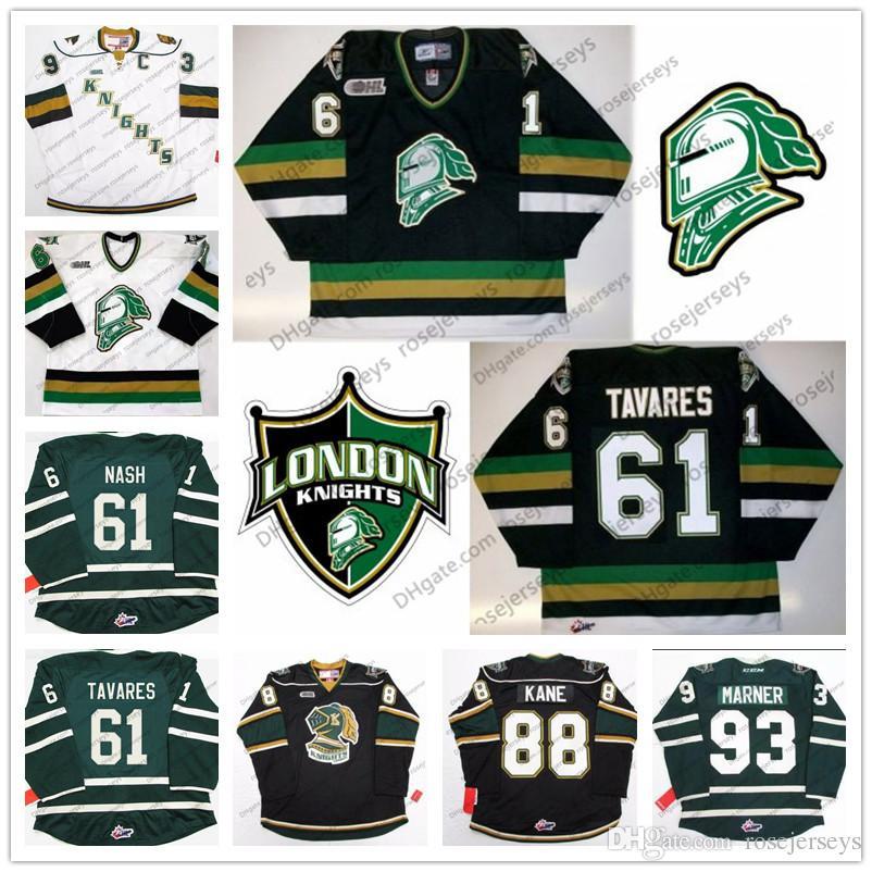 2019 CHL London Knights  93 Mitch Marner 88 Patrick Kane 61 John Tavares Rick  Nash Stitched Ice Hockey Jersey Black Green White Vintage S 4XL From ... 17d096790