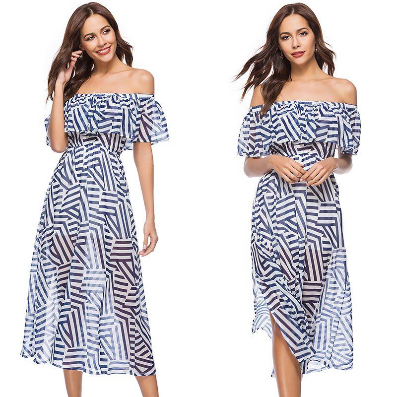 2018 Off Shoulder Dress With Stripe Flared Sleeve Women Dresses Plus