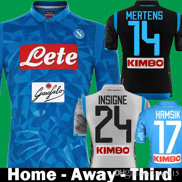 2018 2019 Napoli SSC Home INSIGNE HAMSIK Soccer Jerseys 18 19 Naples Third Away Black camisetas MERTENS Italia Calcio MAGLIA Football Shirt
