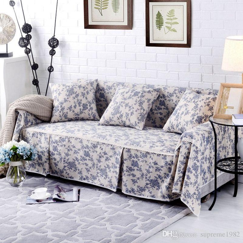 Floral Cotton Linen Slipcover Sofa Cover OUKl Protector For 1 2 3 4 ...