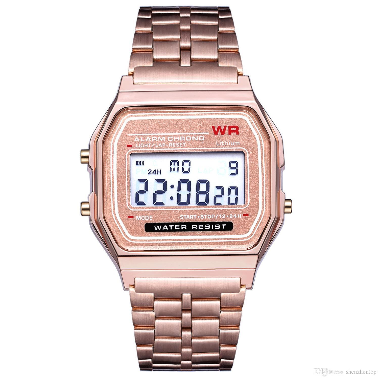 4e823d857f1 Compre Rose Gold Marca Relógio F 91W LED Relógios Moda Ultra Fino Digital LED  Relógios De Pulso F91W Homens Mulheres Relógio Esporte De Shenzhentop