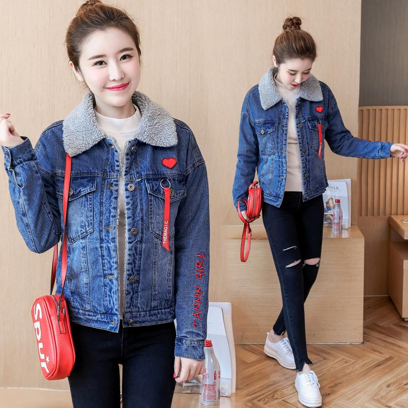 1bb463b6a703 Spring Autumn Winter New 2018 Women Wool Jean Coat With Warm Jeans Coat Female  Jacket Bomber Denim Jacket For Women Basic Tops Leather Jacket With Fur ...