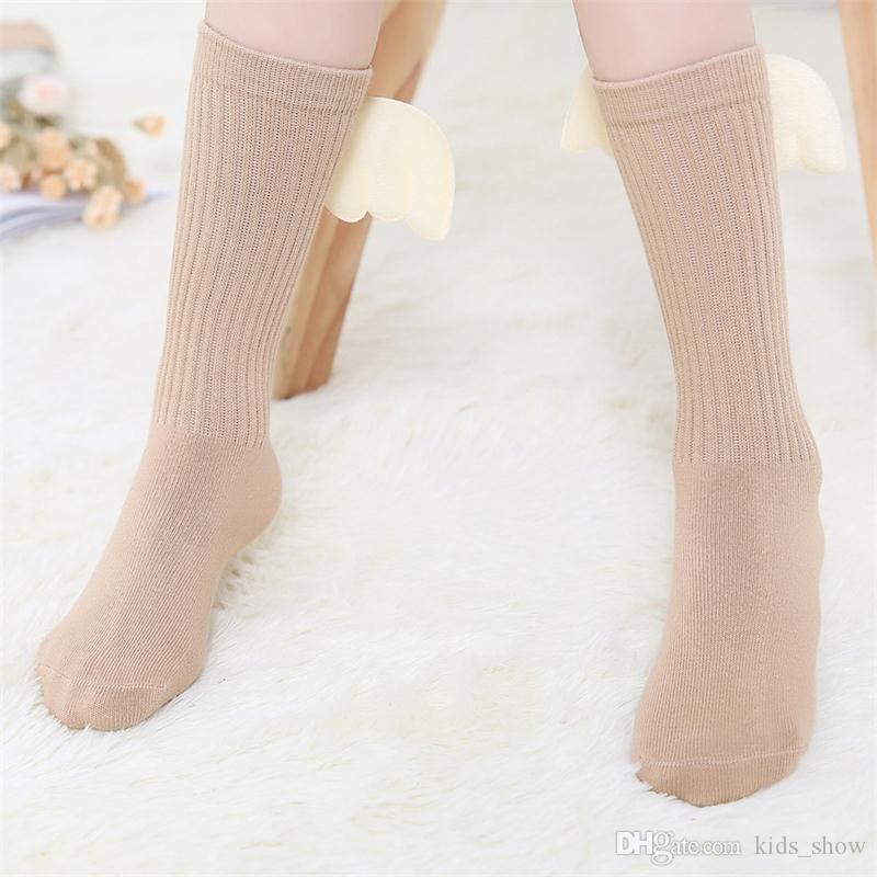 ملاك الجناح الركبة عالية الجوارب الشتاء الخريف الأطفال فتاة الجوارب القطنية لطيف مضحك طويل الركبة جورب